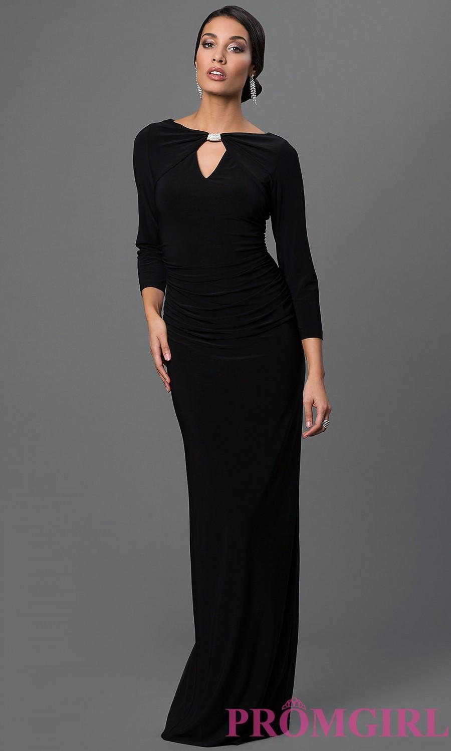 Ruched Marina Floor Length Dress With Sleeves - Discount Evening ...