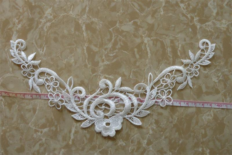 Свадьба - One piece flower embroidery applique patches for wedding dress decoration 2 Colors to Pick SKU: 7J12