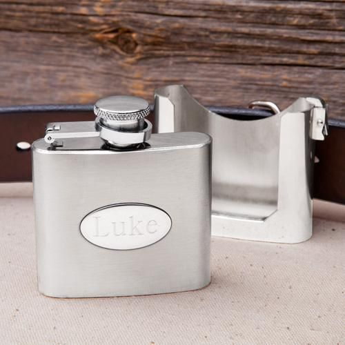 Свадьба - Engraved 2oz. Belt Buckle Flask & Holster