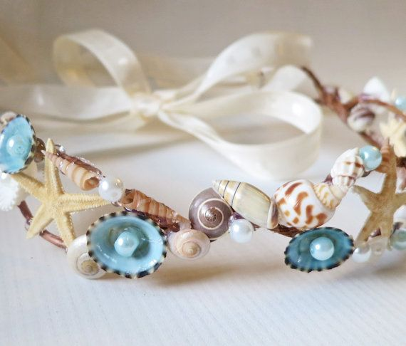 Mariage - Mermaid Sea Shell Crown-Beach Wedding Crown- Hair Accessory-Sea Shell Flower Crown-Beach Wedding Hair Crown-Crown Of Sea Shells