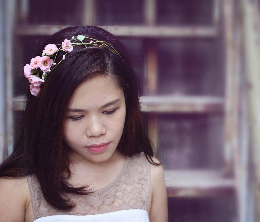 Mariage - sakura headband,cherry blossom headband, made by polymner clay sweet girl