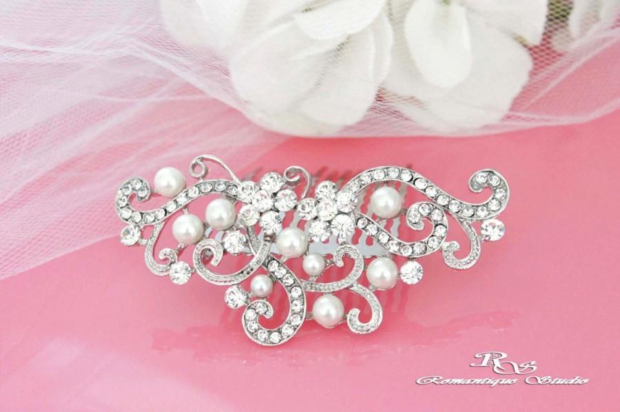 Mariage - Pearl crystal hair comb, Pearl bridal comb, Pearl wedding hair comb, Crystal hair piece, Pearl hair accessory, Rhinestone hair comb 5114