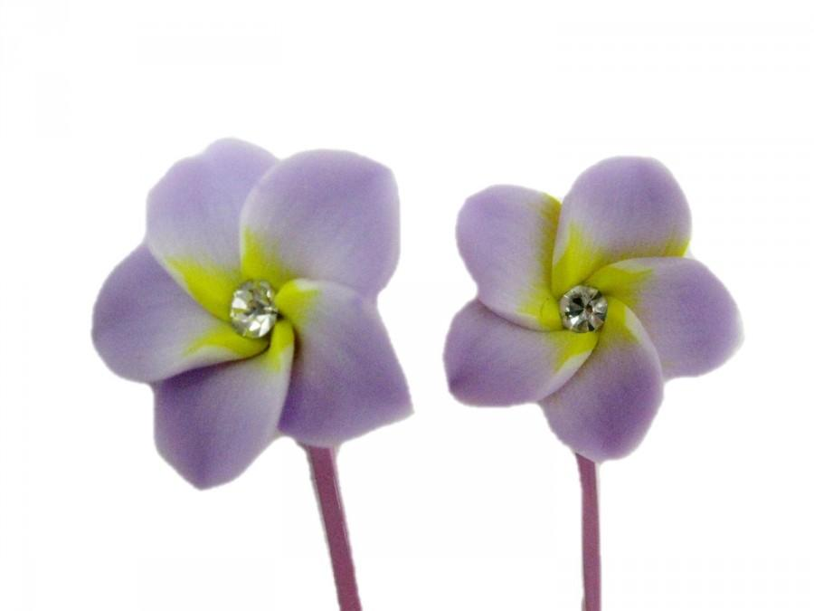 Wedding hair pin purple fower bobby pin set of 2 floral - Decorative hair slides ...