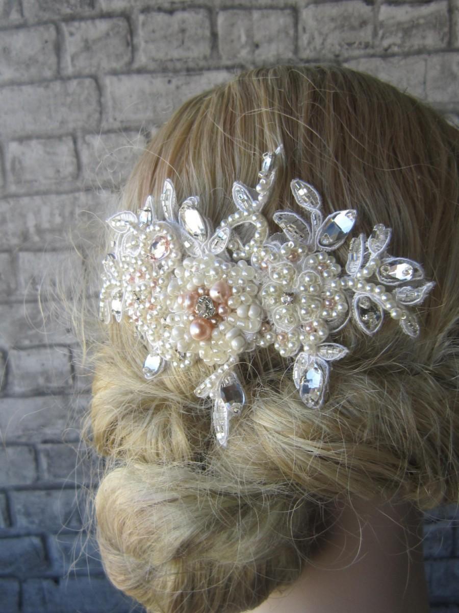 Свадьба - Bridal Lace Pearl Hair Comb/ Pink Ivory Pearl And Crystal Hair Comb,Bridal headpiece,Bridal Veil comb