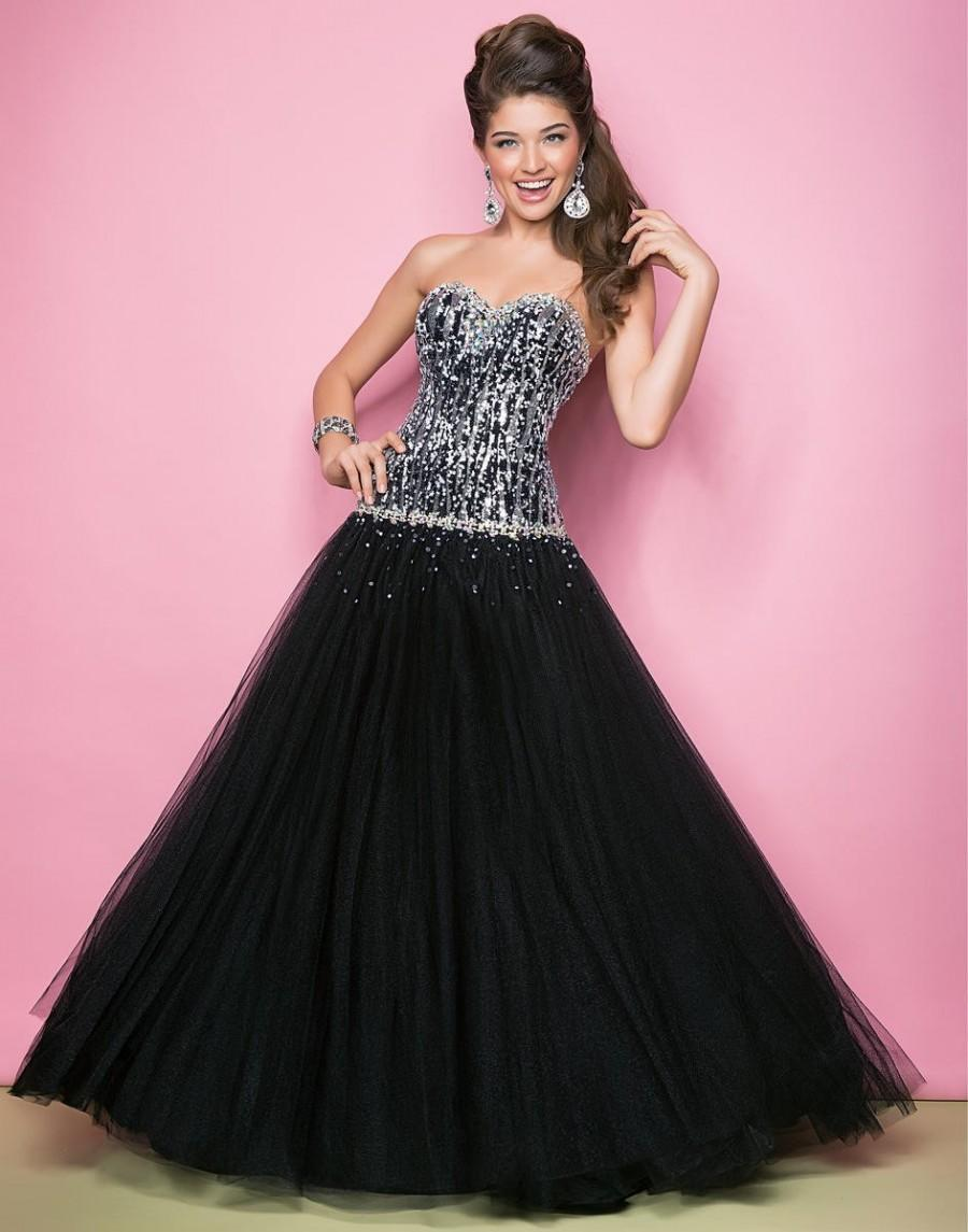 Wedding - Fashionable Tulle Bodice Floor-length Mini Black Strapless Silver A-line Prom/evening/cocktail Dress By Blush 5235 - Cheap Discount Evening Gowns