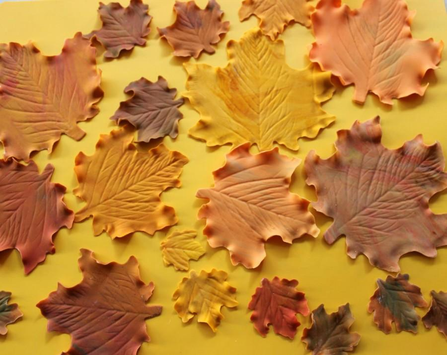 20 Edible Fall Maple Leaves Fondant Thanksgiving Cupcake Cake ...