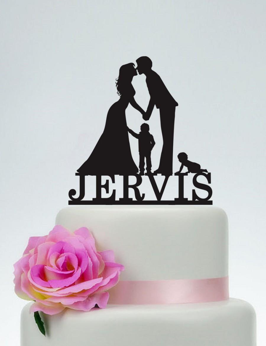 Mariage - Wedding Cake Topper,Bride and Groom and Child Cake Topper,Custom Cake Topper,Personalized Cake Topper,Cake Decoration C119