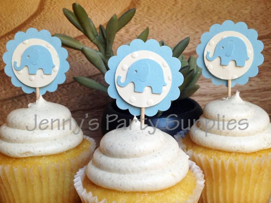 Mariage - Blue Elephant Cupcake Toppers, Blue Elephant Baby Shower Toppers, Elephant Food Picks