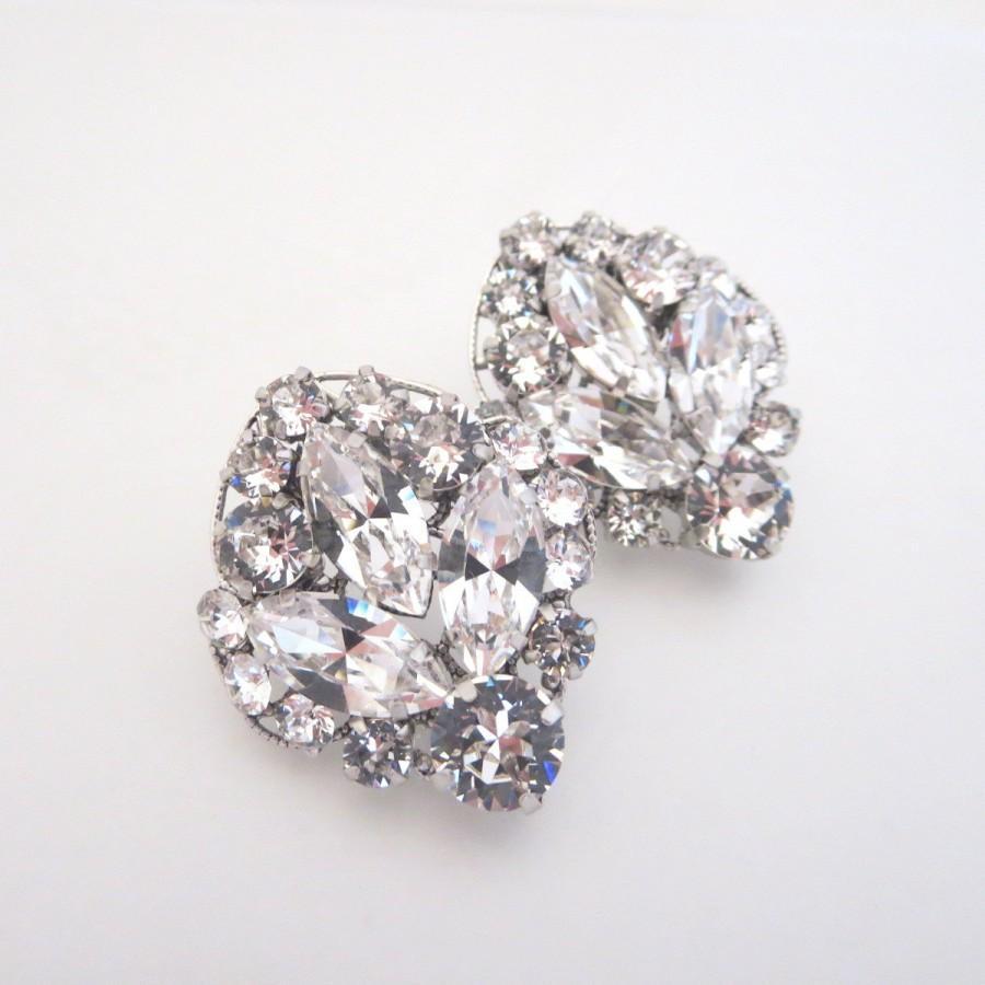 زفاف - Crystal Bridal Earrings, Rhinestone Wedding earrings, Crystal Stud earrings, Bridal jewelry, Vintage style earrings, Swarovski earrings
