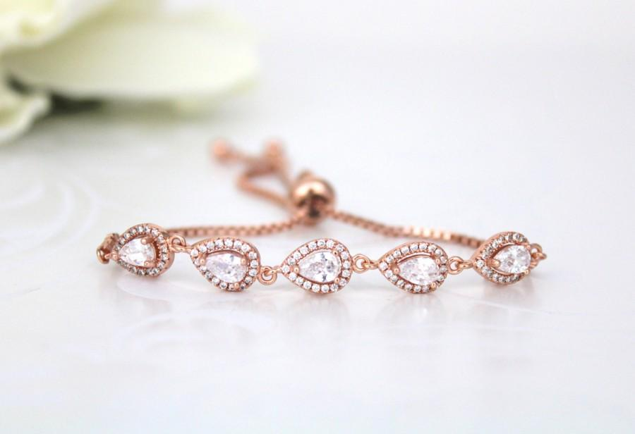 Crystal Bridal Bracelet Rose Gold Adjule Bridesmaid Wedding Jewelry Bangle