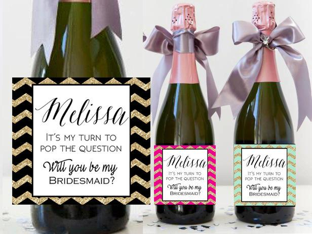 Custom Bridesmaid Champagne Bottle Label - Asking Will You Be My ...