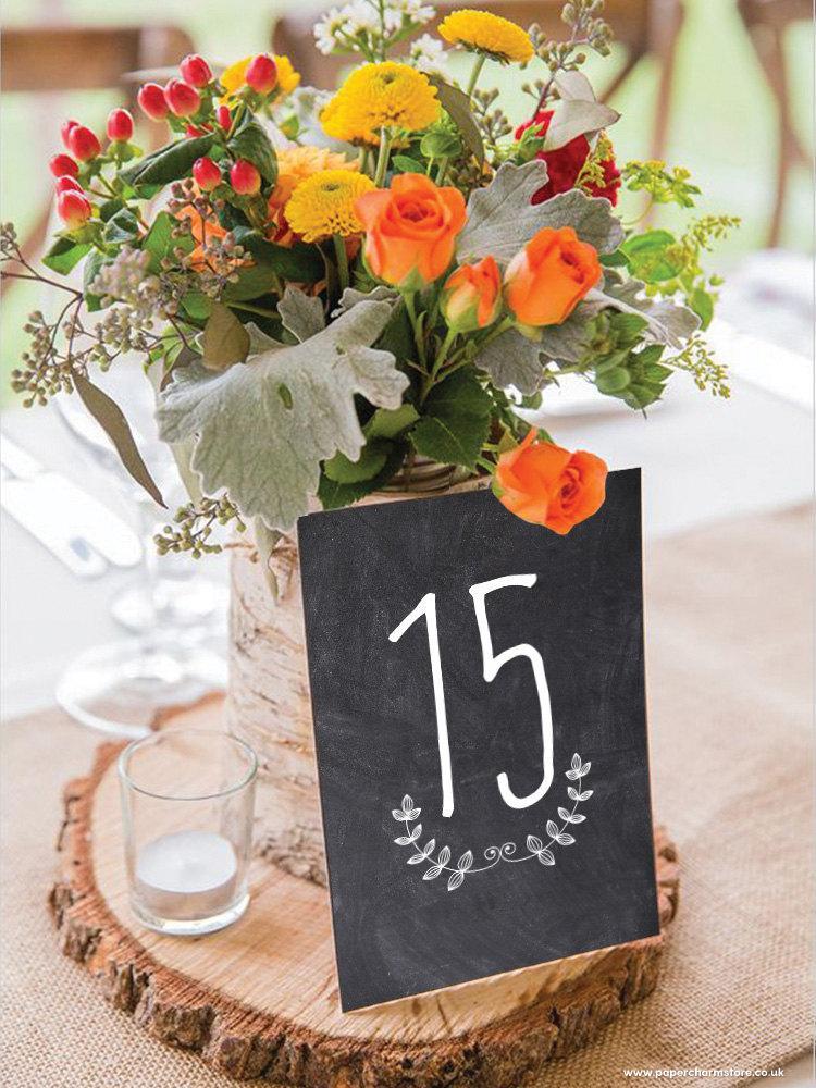 زفاف - Black Chalkboard Table Numbers / Names Set - Personalised Black Table Numbers / Names - Wedding Vintage Table Numbers by Paper Charms