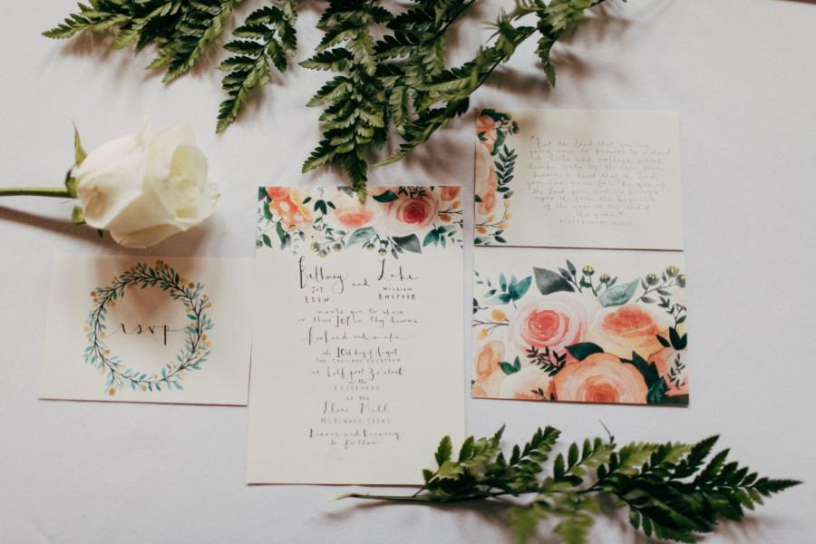 Custom Wedding Invitation Watercolor Wedding Suite Personalized