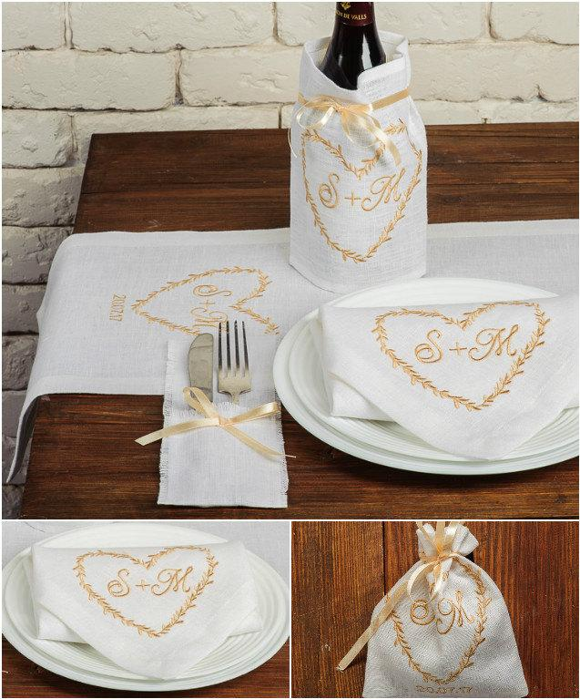 Wedding - Set of 20 Personalized Wedding Table Decoration, Gold Wedding Linen Embroidered Table Runner Napkins Favor Bags Silverware Holders Wine Bag