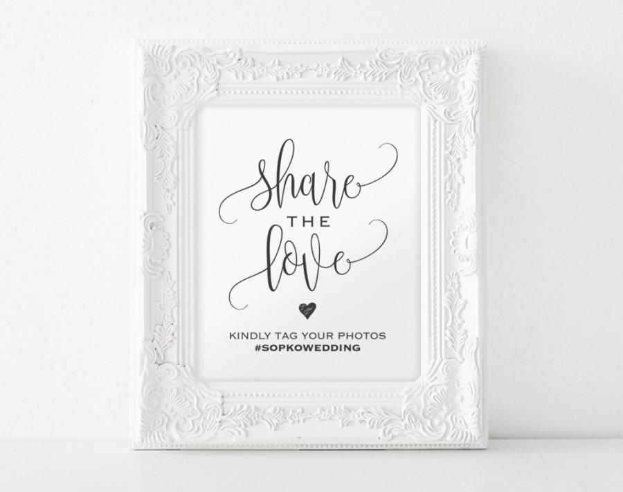 زفاف - Share The Love Sign, Wedding Hashtag Sign, Hashtag Printable Template, Wedding Sign, Wedding Printable, PDF Instant Download
