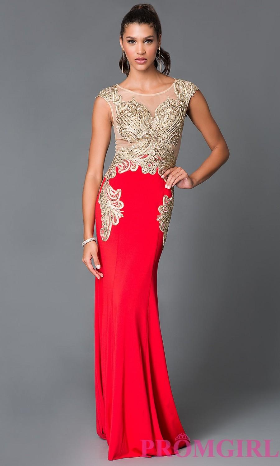 Düğün - Long Scoop Neck Embroidered Bodice Prom Dress - Discount Evening Dresses