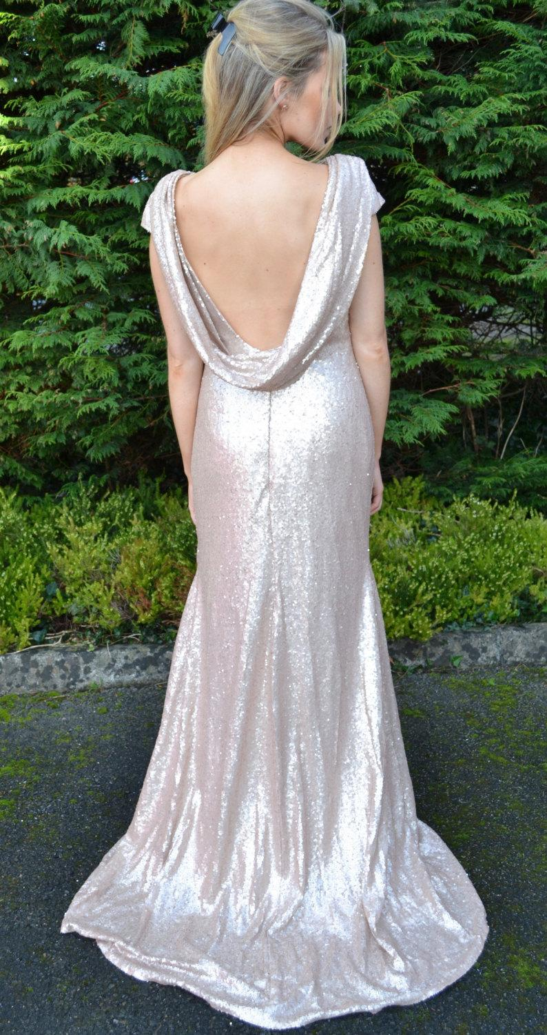 Wedding - Custom made 'Rebecca' dress full length sequin sheath formal bridesmaid gown with cowl back and cap sleeves