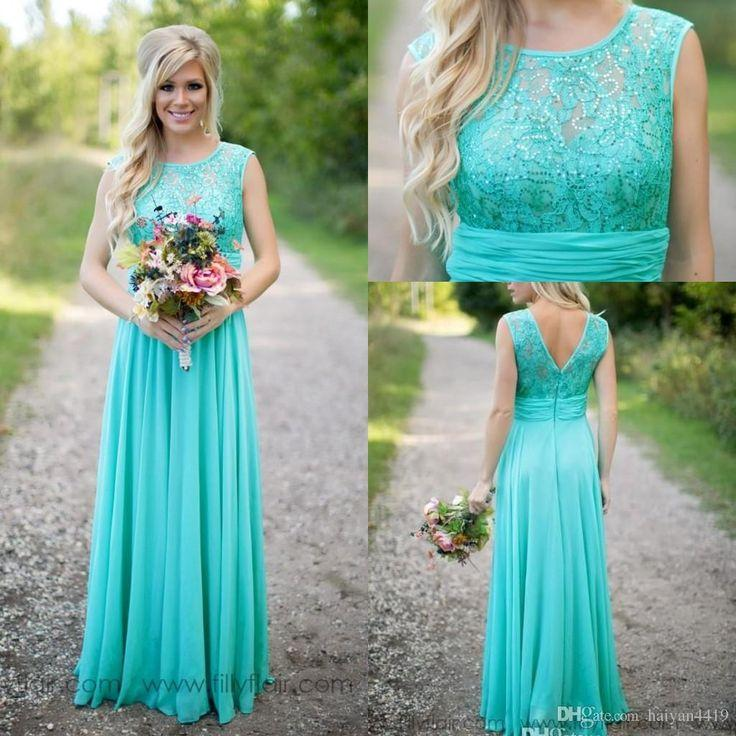Wedding - 2016 Country Fantasy Turquoise Bridesmaid Dresses Illusion Neck Sequines Lace Top Chiffon Long Plus Size Maid Of Honor Wedding Party Dresses Online With $99.48/Piece On Haiyan4419's Store