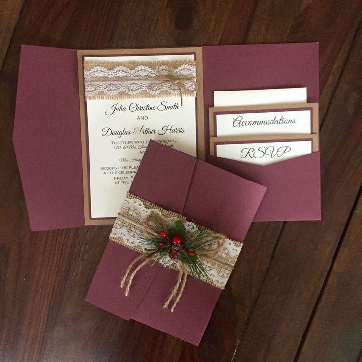Rustic Vintage Winter Christmas Wedding Invitation Suite Shabby ...