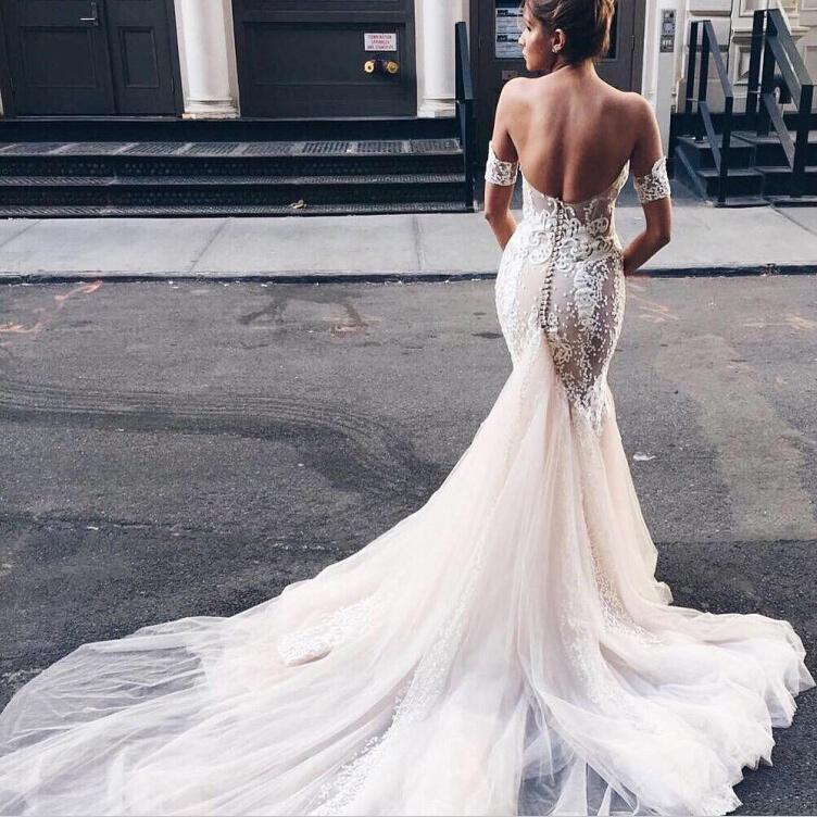 83b9348c31 Sweetheart Open Back Watteau Train Mermaid Wedding Dress with White Lace  Detachable Short Sleeves