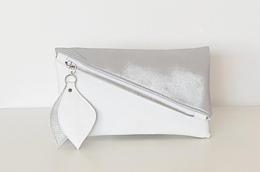 Свадьба - Geometric leather clutch, white silver shining clutch bag, asymmetric pouch, fold over clutch, white leather clutch, bridal clutch, wedding