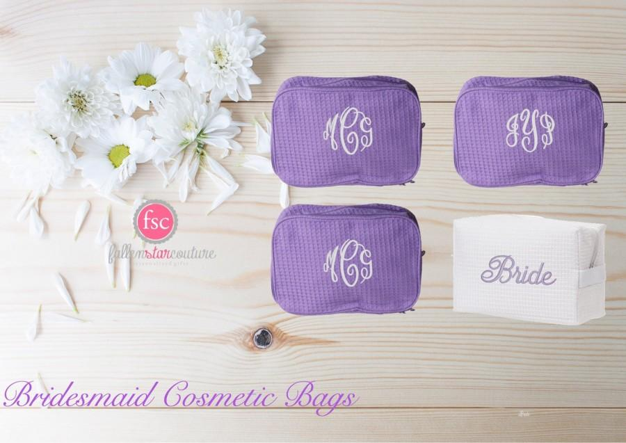 Hochzeit - Set of 4 bridesmaid makeup bags , bridesmaid accesory bags, monogrammed bag, wedding bag , bridesmaid gifts , personalized bridesmaid gifts