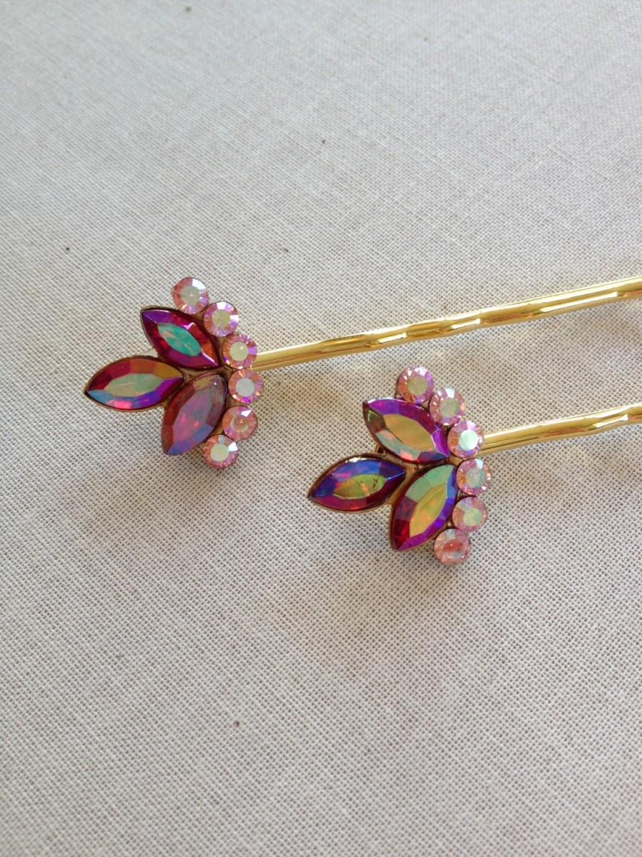 Wedding - Pink and Red Rhinestone hair pins, set, gift, hair, accessory, rustic, wedding, vintage, rhinestone, red, pink, Siam, gold, bridesmaid, hair