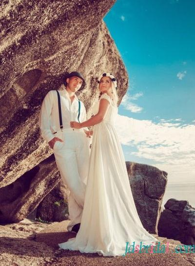 Düğün - sexy boho chiffon beach wedding dress with slit skirt