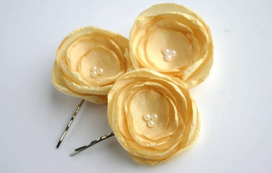 Yellow Flower Hair Pieces, Yellow Flower