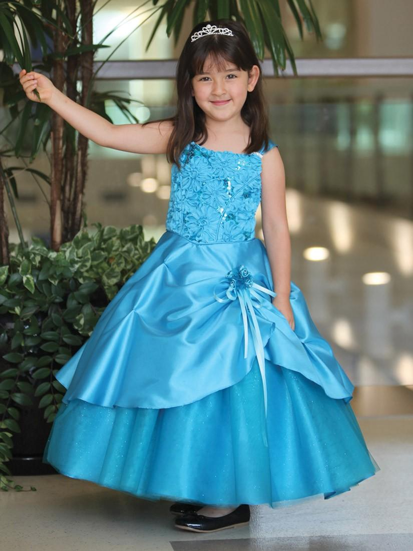 Mariage - Turquoise Taffeta Dress w/ Sparkly Tulle Underlay Style: DR513 - Charming Wedding Party Dresses