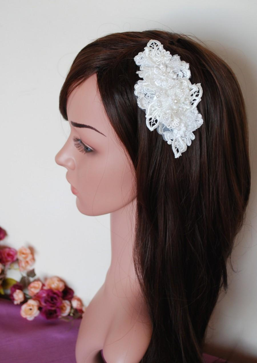 Wedding - Ivory lace headpiece, Ivory bridal comb, Lace headpiece, pearl and lace, Pearls comb, Wedding headpiece, Bridal lace headpiece, guipure lace