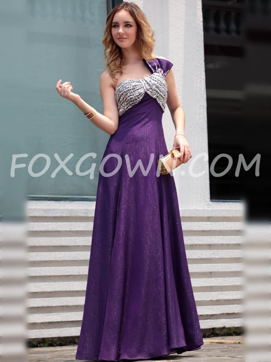 Lila One-Schulter Langen Abendkleid - Festliche Kleider #15