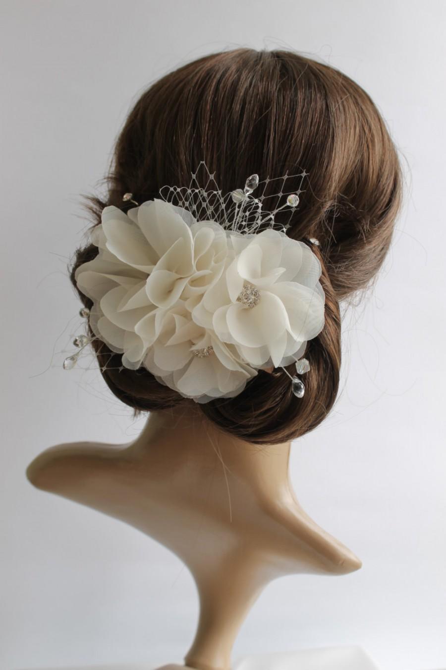 White Ivory Bridal Hair Flower Wedding Flower Hair Clip Cream