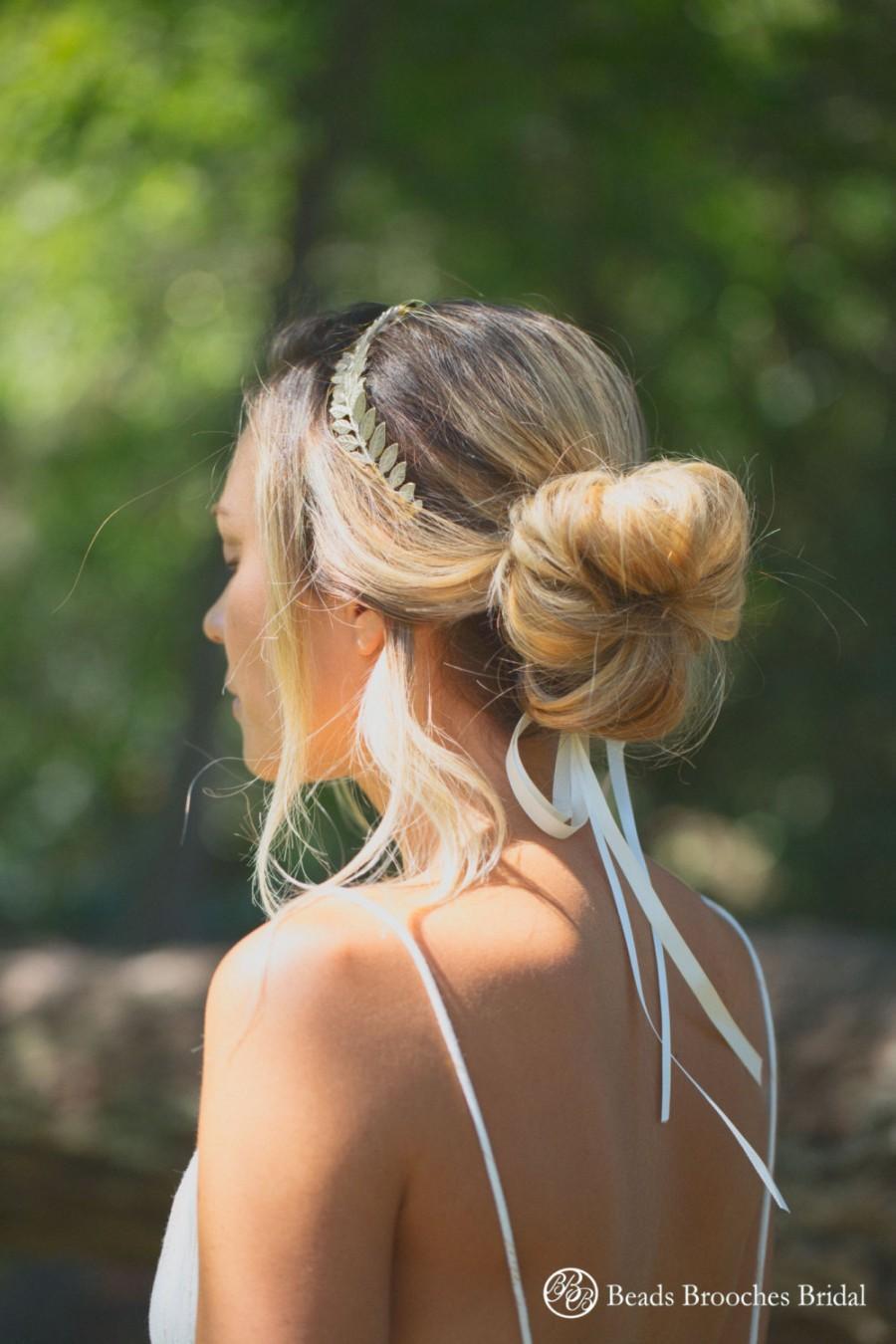 Hochzeit - Grecian Hair, Silver Plated Leaf Wedding Headband,Wedding Hairpiece, Silver Bridal Headband, Goddess Hair, Silver Greek Headband