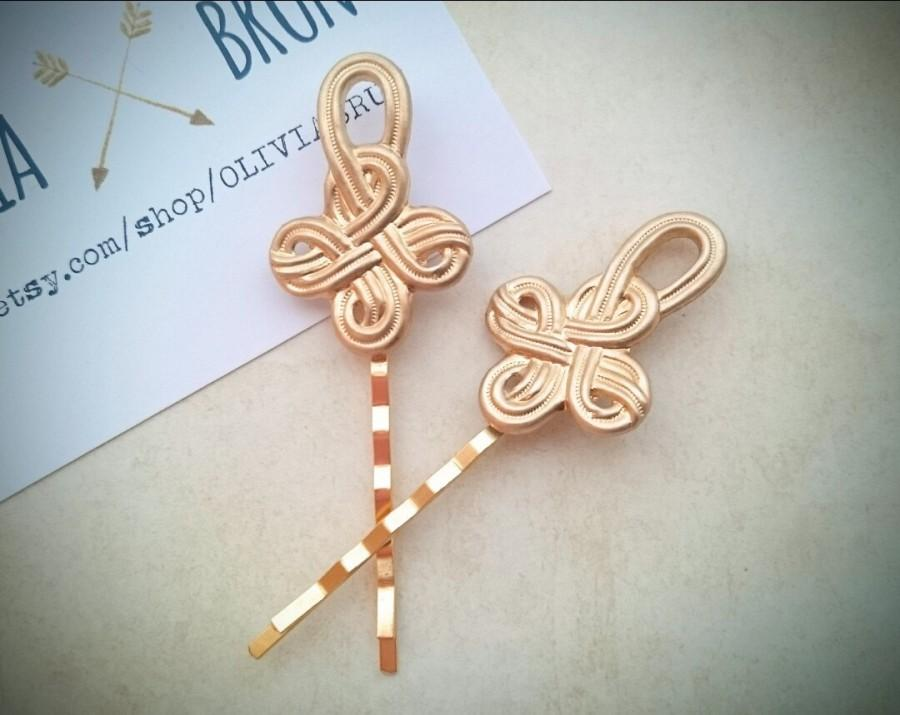 Hochzeit - Celtic Knot Bobby Pins Gold Celtic Knot Hair Pins Hair Clips Hair Accessories Celtic Hair