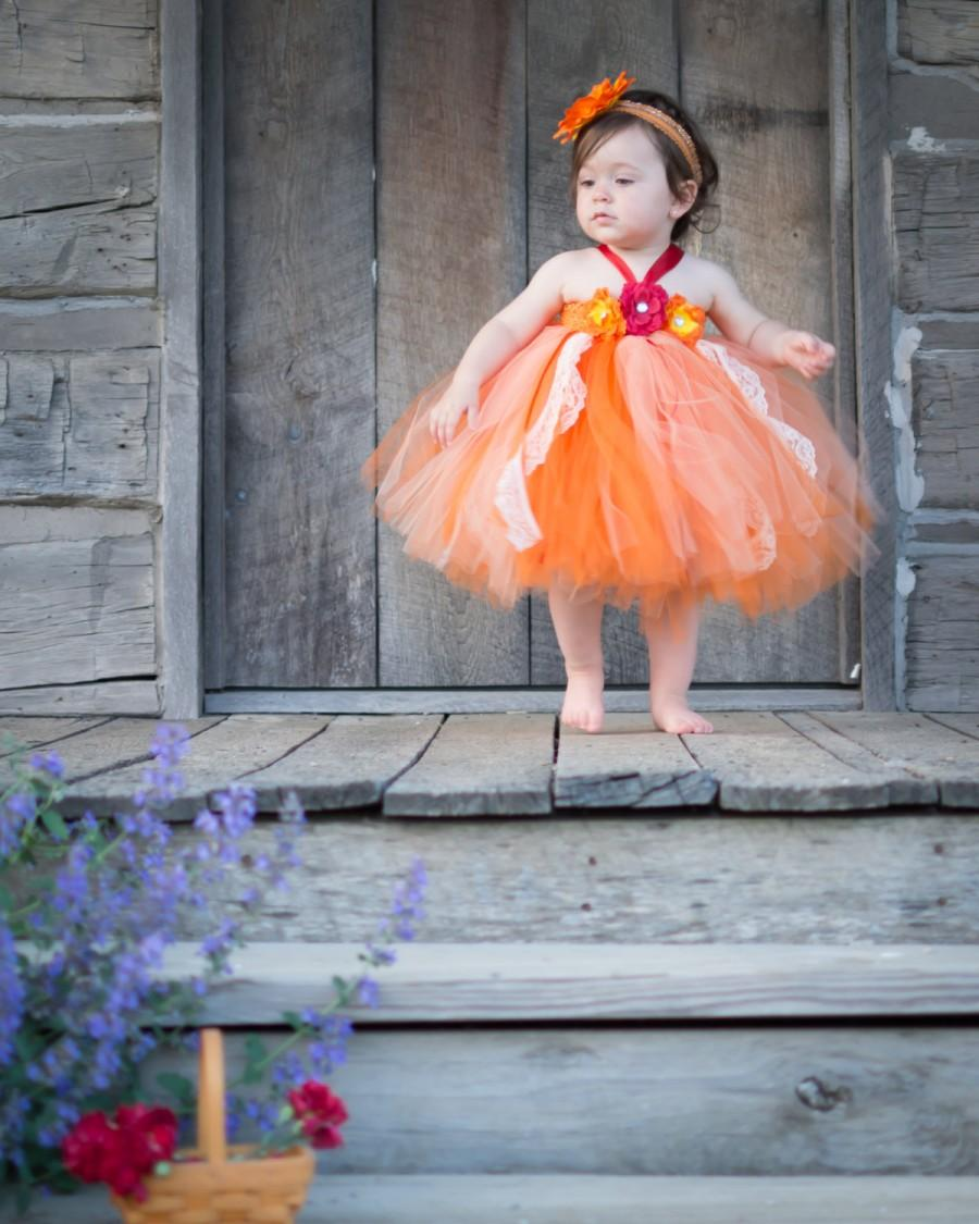 Fall Flower Girl Dress - Tutu Dress For Toddler - Size 6 Month-3T ...