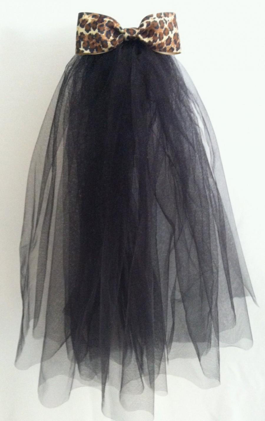 Mariage - Bachelorette Veil - Black w/ Leopard Bow