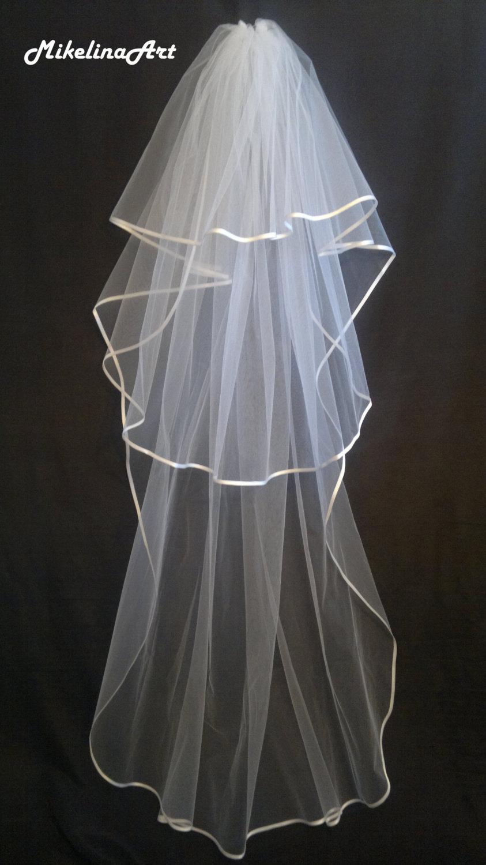 Hochzeit - White Wedding Veil, Three Layers