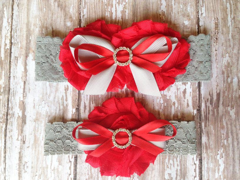 Mariage - Red and Grey Garter Set