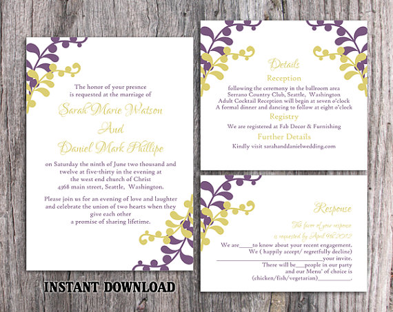 Hochzeit - DIY Wedding Invitation Template Set Editable Word File Instant Download Eggplant Wedding Invitation Printable Green Wedding Invitations