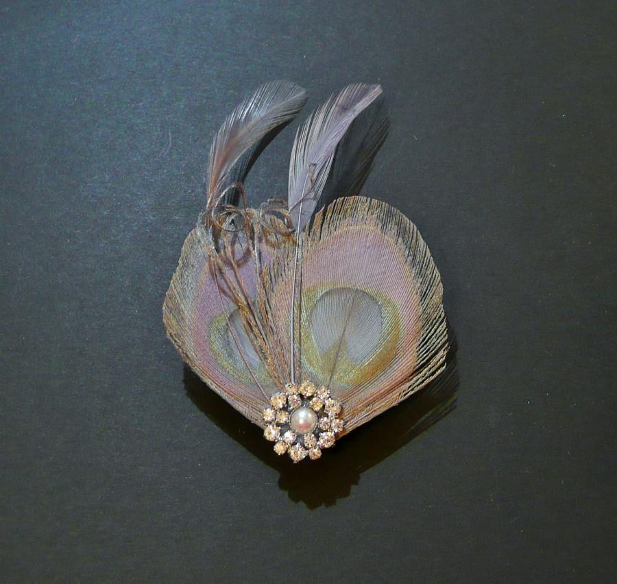 Hochzeit - Grey Peacock Feather Hair Clip Silver Bridesmaids Hair Accessory Fascinator Wedding 'Lisette'