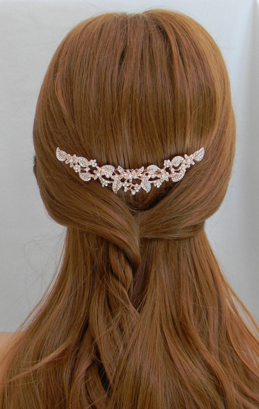 Hochzeit - Rose Gold Hair Comb, Wedding Hair comb, Rose Gold headpiece, Swarovski, Rhinestone hair comb, Bridal headpiece, Ivy Hair Comb