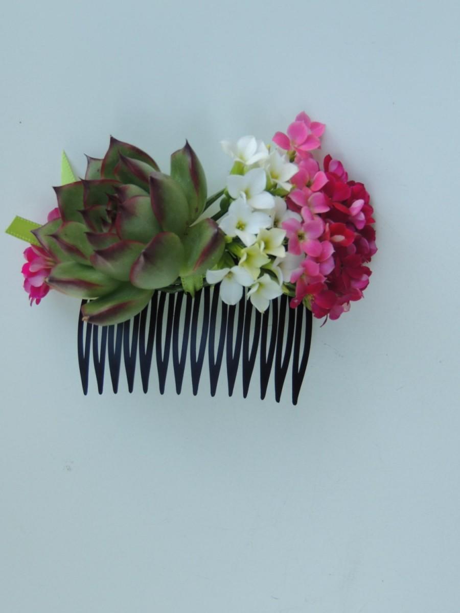 Hochzeit - Bridesmaids Hair accessories, Succulent Hair Comb