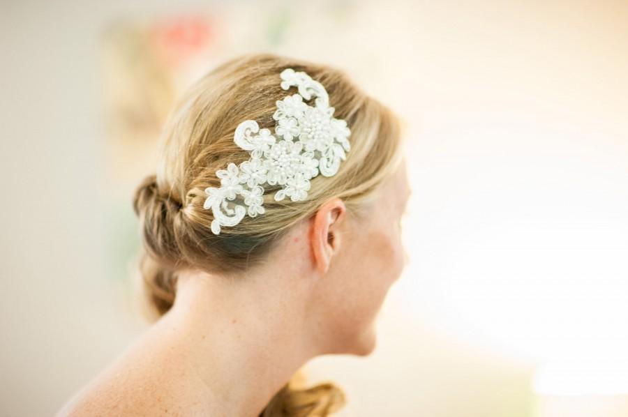 Hochzeit - Ivory Lace Headband, Bridal Headband, Bridal Fascinator, Pearls