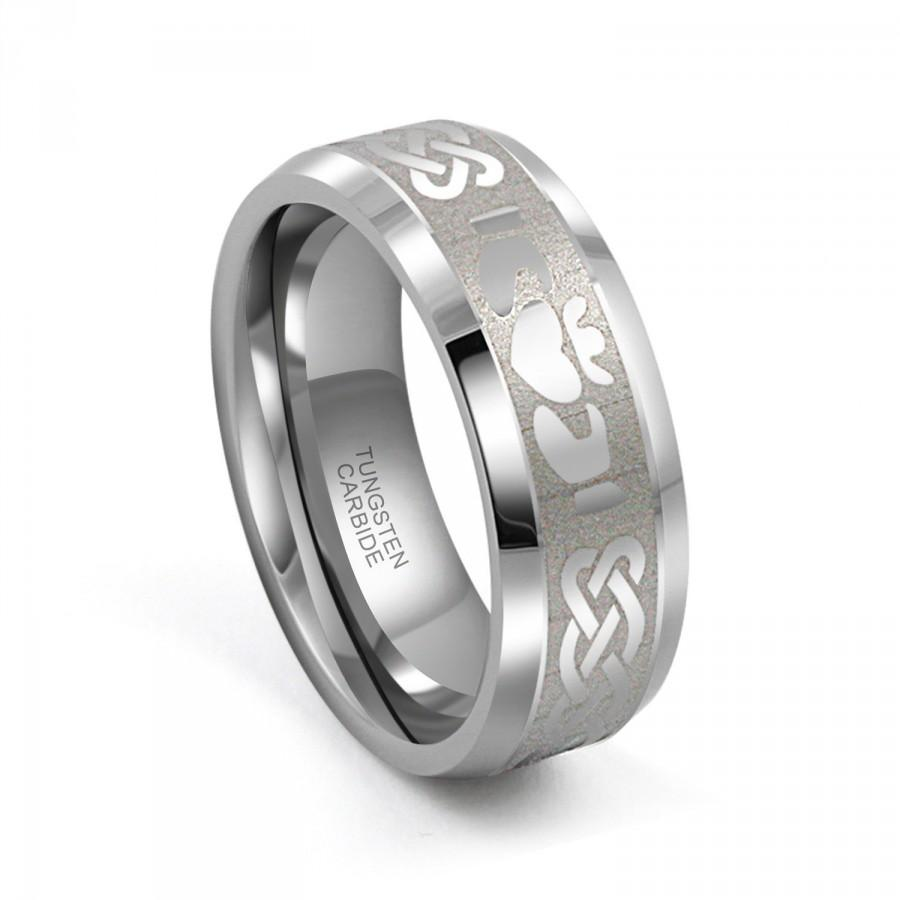 Men 8mm tungsten carbide irish claddagh celtic design for Tungsten celtic wedding ring