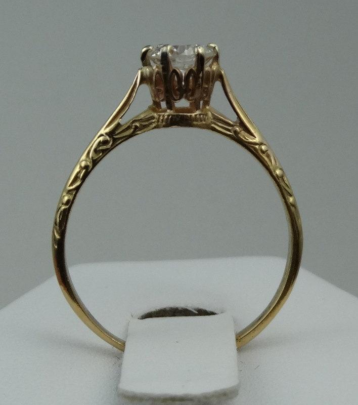Stunning Edwardian Style 14k Yellow Gold 1 2 Carat Diamond