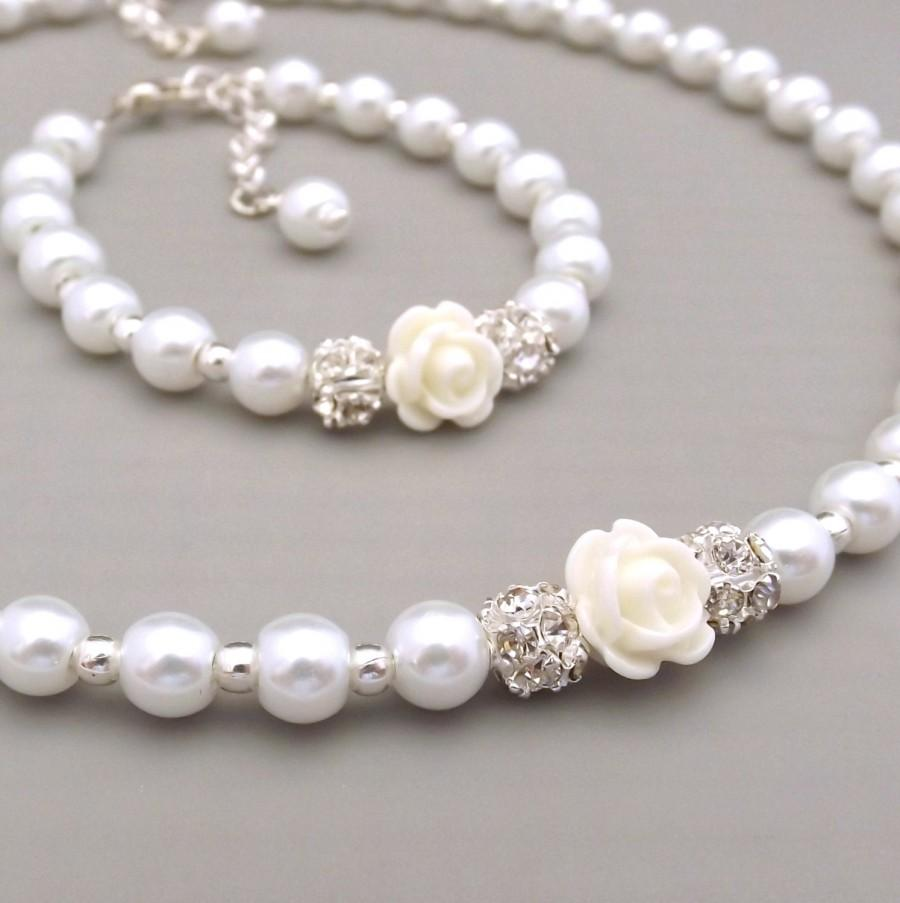 Childrens Pearl Necklace And Bracelet Set Flower Gift Jewelry