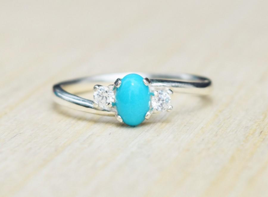 Wedding - Turquoise Ring, Sleeping Beauty Turquoise, Petite Ring, Turquoise Engagement Ring, Turquoise Promise Ring