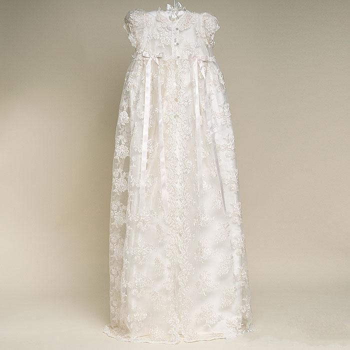 Wedding - Lace Long Baptism Gown Ivory White Long Christening Gown Baby Dresses Dedication dress Baptism Dress Blessing