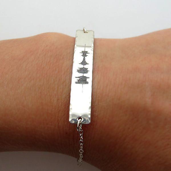 Sound Wave Bracelet Custom Sterling Silver Engraved